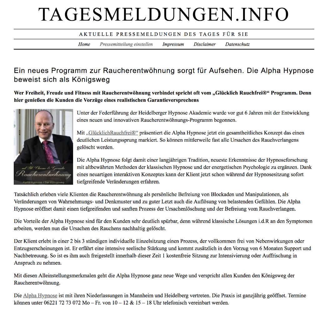 Pressemitteilungen Hypnose Raucherentwöhnung Phaidros.org Hypnose Mannheim Heidelberg