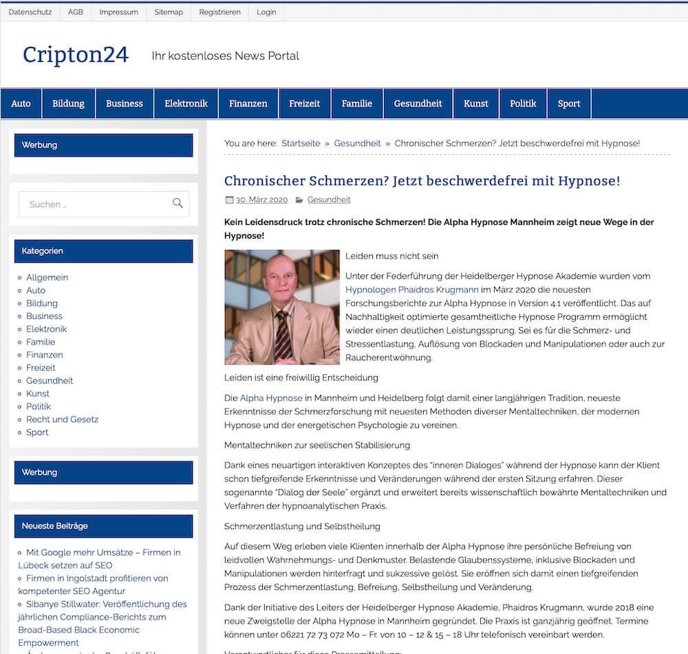 Presseartikel Hypnose Chronische Schmerzen www.phaidros.org