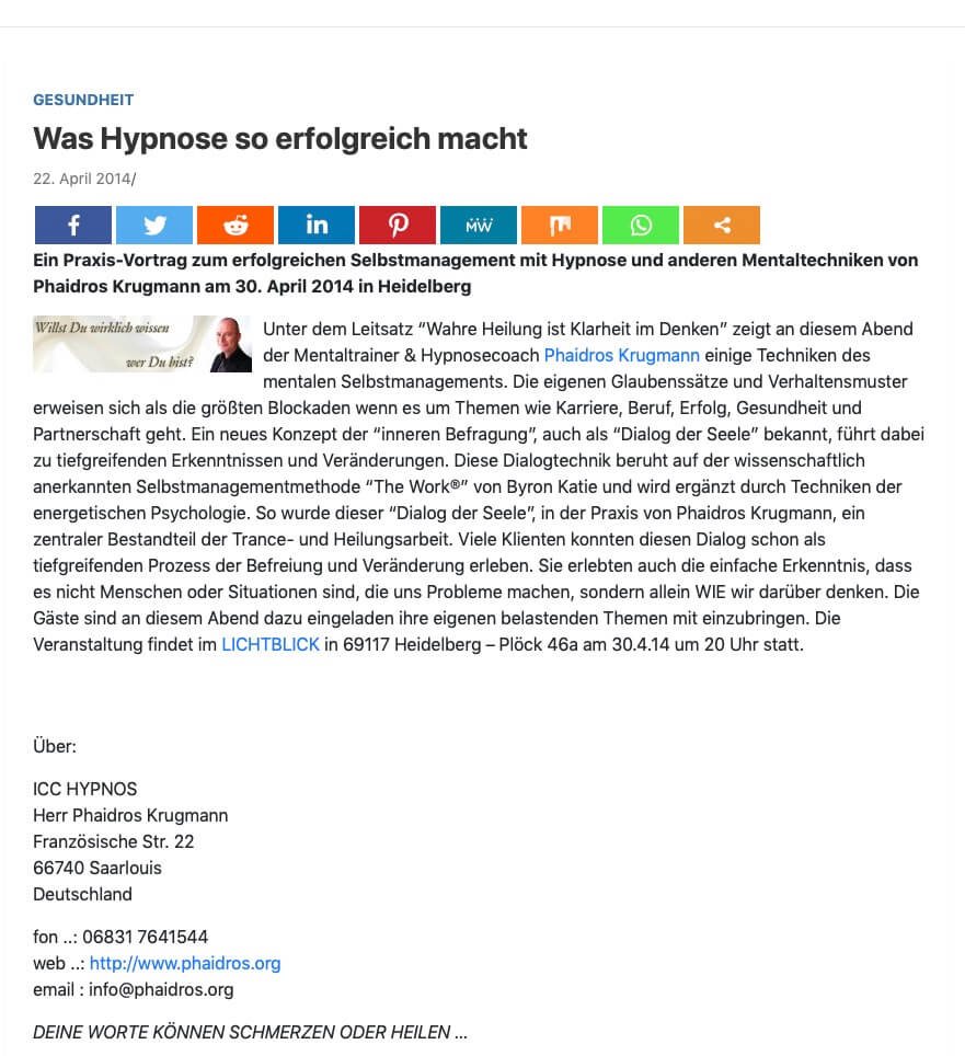Presseartikel Hypnose heidelberg www.phaidros.org